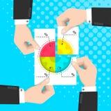 在事务,握手每纸的商人的合作与圆形统计图表的 向量例证