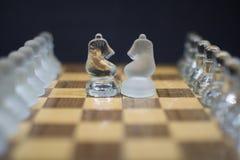在事态对面,在黑背景的冰冷的骑士棋子 库存图片