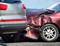 在事故的二辆汽车 免版税图库摄影