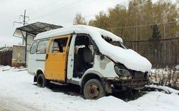 在事故以后的被拆卸的汽车 图库摄影