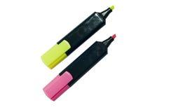 在二个颜色黄色和紫色的轮廓色笔 库存图片