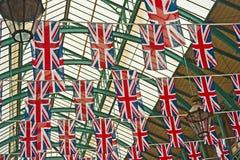 在二十五周年纪念的英国国旗标志 免版税库存照片