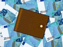 在二十欧元背景的钱包 免版税库存图片