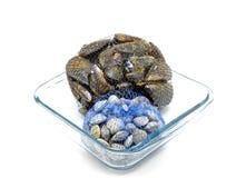 在二只网兜的淡菜和蛤蜊在玻璃碗 免版税库存图片