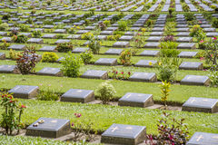 在二战公墓,北碧,泰国的严重石头 免版税库存图片