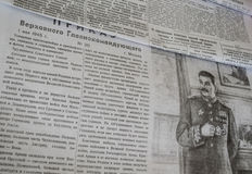 在二战的苏联报纸 库存照片