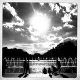 在二战纪念碑,华盛顿特区的喷泉 免版税库存图片