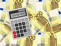 在二百欧元背景的计算器 免版税库存图片