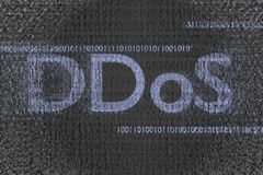 在二进制云彩的Ddos攻击与被传染的代码3d回报 库存照片