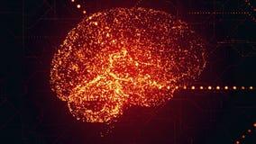 在二进制数据的数字式人工智能明亮的红色脑子apperas扫描 皇族释放例证