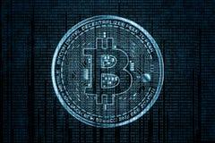 在二进制编码和齿轮蓝色背景的抽象技术bitcoin商标 免版税库存图片