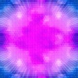 在二进制编码背景的紫色发光的量子处理器 图库摄影