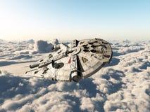 在云彩上的太空飞船 免版税库存图片