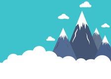 在云彩上的平的样式山峰 库存例证