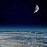 在云彩上的月亮 库存照片