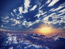 在云彩上的美丽的景色 免版税库存图片