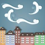 在云彩下的纸城市。 免版税图库摄影