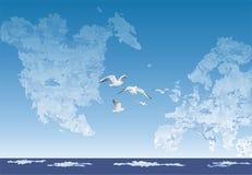 在云彩之间, 图库摄影