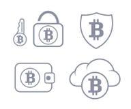 在云彩保护的Bitcoin钱包 设置图标 皇族释放例证