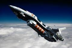 在云彩后侧方视图之上的太空飞船 免版税库存照片