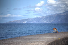 在云彩海岛山路tenerife之上 免版税图库摄影