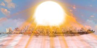 在云彩海的老和新的吉达在日落的与太阳射线 免版税库存照片