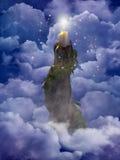 在云彩的仙女的蜡烛 免版税图库摄影
