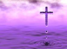 在云彩的圣洁十字架 向量例证