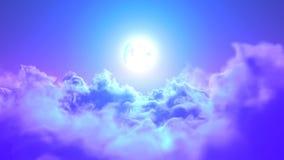 在云彩的夜间飞行到月亮 皇族释放例证