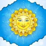 在云彩的太阳 向量例证