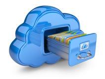 在云彩的文件存储。 3D查出的图标 免版税库存照片