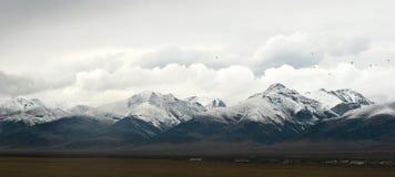 在云彩的斯诺伊山在西藏全景视图 免版税库存照片