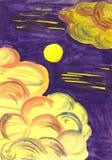 在云彩的月光 图库摄影