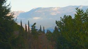 在云彩的积雪的山 影视素材