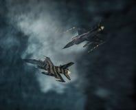 在云彩的空战 图库摄影