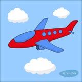 在云彩的红色动画片航空器在蓝色背景 免版税库存图片