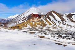 在云彩的红色火山口在东格里罗国家公园,新西兰 免版税库存图片