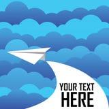 在云彩的纸飞机 免版税库存照片