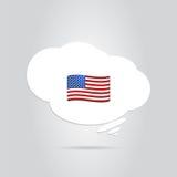 在云彩的美国旗子 免版税库存照片