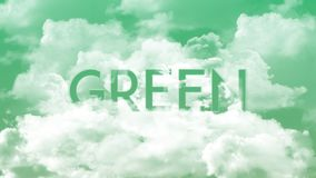 在云彩的词绿色,绿色天空颜色 向量例证