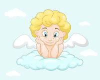 在云彩的逗人喜爱的小的天使 库存照片