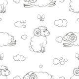 在云彩的逗人喜爱的绵羊 库存例证