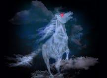 在云彩的马 库存照片