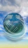 在云彩的高技术电路球 库存图片