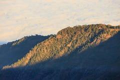 在云彩的鸟瞰图在与前阳光的海洋水上 免版税库存图片