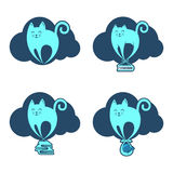 在云彩的滑稽的飞行猫 库存图片