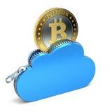 在云彩的Bitcoin 免版税库存图片