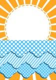 在云彩邀请卡片的太阳 免版税库存照片