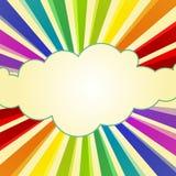 在云彩附近的彩虹光芒 向量例证