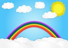 在云彩,传染媒介,文本的,例证拷贝空间的彩虹 免版税图库摄影